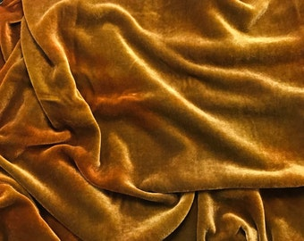 Amber ORANGE HAND DYED Silk Velvet Fabric fat 1/4