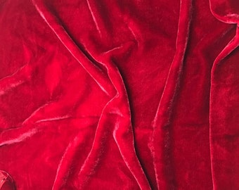 Cherry Red HAND DYED Silk Velvet Fabric fat 1/4