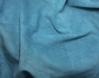 SUEDE TEAL BLUE cow hide Leather Piece #3