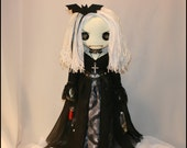 OOAK Hand Stitched Vampire Rag Doll Creepy Gothic Folk Art By Jodi Cain Tattered Rags