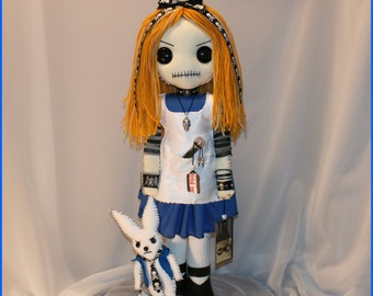 OOAK Alice in Wonderland Inspired Hand Stitched Rag Doll Creepy Gothic Outsider Art by Jodi Cain Tattered Rags