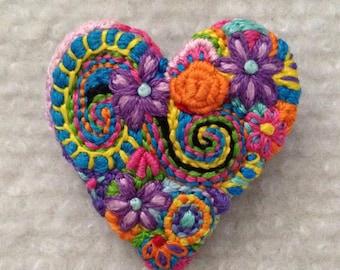 Freeform embroidery heart brooch  Brooch #156