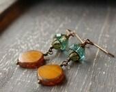 On SALE / CIJ Sale / Golden Pumpkin Glass Earrings, Gold Orange, Autumn Earrings Aqua Glass Gold and Aqua Blue Rustic