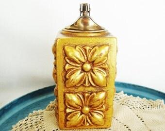 vintage cigarette lighter freeman mcfarlin california pottery gold leaf hollywood regency
