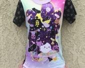Candy Cemetery, Conversation Candy Bats Cupcake Tee Shirt, Bat Cupcake Tee, Pastel Goth T-Shirt
