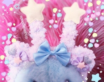 Trixie the Alien Bear Fuzzy Headband, Fairykei Fuzzy Headband, Fuzzy Headband, Pastel Aliens, Kawaii Aliens