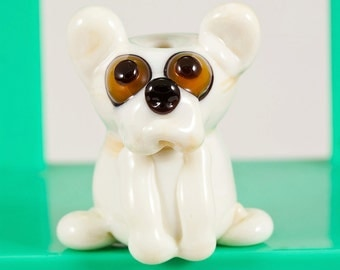 Tan French Bull Dog Lampwork Bead