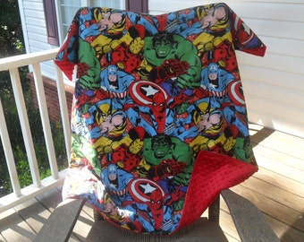 Marvel Retro Comic Collage and Minky Dot Blanket MINKY CHOICE