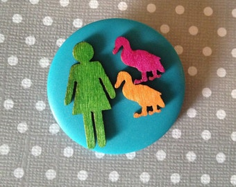 duck lady button brooch