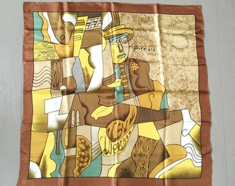 Vintage Satin Abstract Figural Print Scarf HUGE Mocha Yellow Teal