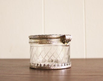 Vintage round cut glass jewelry box with lid