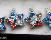 Red White & Blue Glitter Star Necklace with Stars Inside