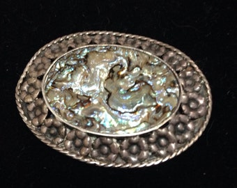 Old mexican silver- sterling / abalone pin