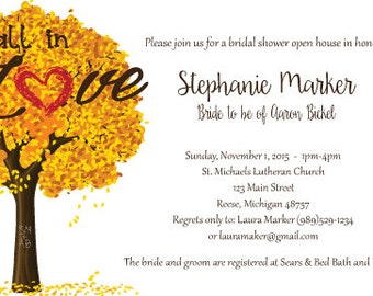 Fall In Love Bridal Shower Invitation-Digital Copy