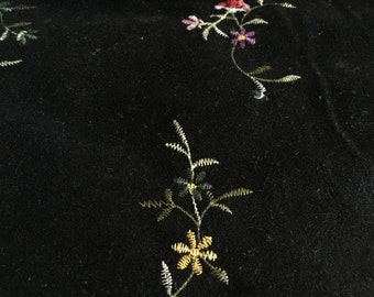 Fabric, Embroidered Suede Cloth, Black with Flowers, 60 inches wide - by the yard