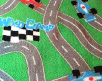 Fleece Green Race Car Blanket