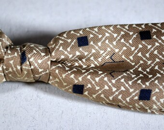 Vintage BOW TIE - Ever-Grip - Tan Taupe with Black and White  Silk Tie