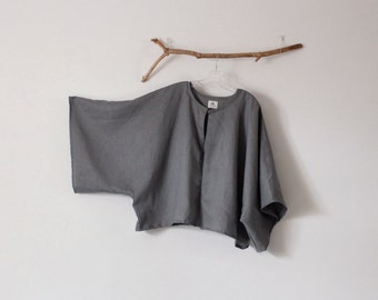 minimalist linen jacket / simple linen jacket / kimono sleeve / open seam short linen jacket / plus size fit / custom color welcome /
