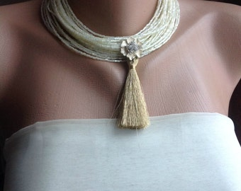 Boho Weddings Inspired Choker, Handmade Necklace with Gold Tassel, Rhinestone Floral Brooch Jewelry, Bridesmaids Gifts, Tassel Necklace