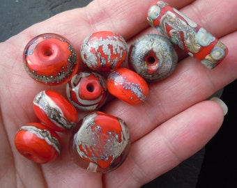 Handmade Lampwork Glass Bead Set. Jewelry Supply. Reds w Fine Silver n Silvered Glass. LWS-70