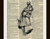 Art Print RABBIT GIRL 8x10 Dictionary Gold Gilded Vintage Page