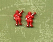 Two Vintage Plastic Realistic Buttons - U. S. Army Soldiers - Hand Painted Features - 1940's