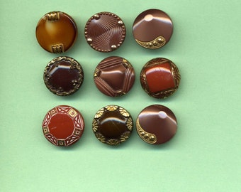 Nine Vintage Brown Glass Buttons With Gold Luster
