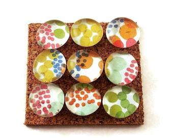 Decorative Glass Push Pins  Thumb Tacks Cork Board Pins in Watercolor Dots (P08)