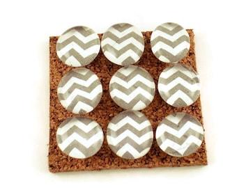 Decorative Funky Push Pins  Thumb Tacks Cork Board Pins  Gray Chevron (P119)