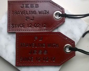 Featured in Country Living - His and Hers - Personalized Leather Luggage Tags - set of 2 - Traveling with... since - 3rd anniversary
