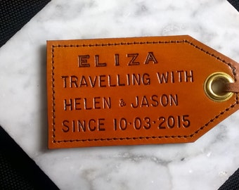Plus One - Travel(l)ing With... Leather Luggage Tag For Children - with privacy flap