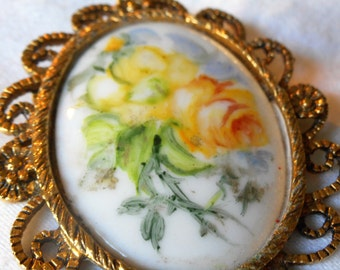 VINTAGE Painted Porcelain Yellow Rose Flower Costume Jewelry Brooch and Pendant