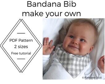 Bandana Bib PDF Pattern | Tutorial Digital Download | Drool Bib Pattern | DIY |