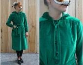 Vintage Emerald Green Velvet Velour Long Hooded Trench Jacket by Marguerite Rubel | Medium