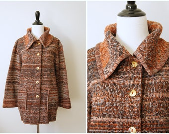 Vintage 70's Heavy Marled Wool Button-Up Cardigan Sweater with Fold Over Collar and Bell Sleeves  