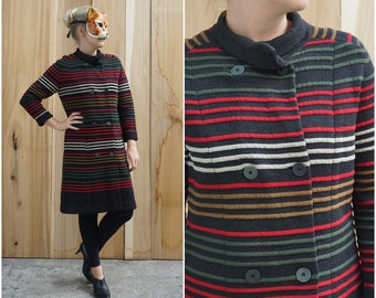 Vintage 60's Long Thick Knit Striped Sweater Jacket by MIRSA | Medium Large