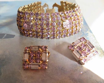 Vintage 50s WEISS Lavender Rhinestone Bracelet and Earrings Set