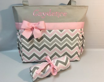 CHEVRON  in Zoom Zoom ... Pink Gray ...   Diaper Bag Set ... Changing Pad ... ZIPPER Closure ... Monogrammed  FReE