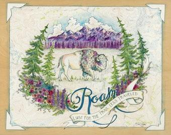 Roam - Bison art on topography map, wildlife illustration, animal print, American Bison illustration, buffalo kids bedroom art, childrens