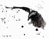 Ink drawing on canvas A4 - Raven flight 3