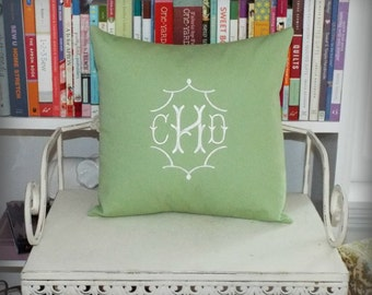 calicodaisy gems - Monogrammed Pillow Cover 14 x 14 - Choice of Colors