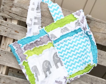 Elephant Diaper Bag in Turquoise and Gray Rag Quilt Style, Made To Order - Elephant Purse - Rag Quilt Diaper Bag - Elephant Diaper Bag