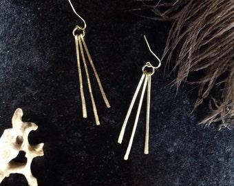 Radiance Earrings - Hammered Brass - Dangle - Ray of Sun - Sunlight - Sunshine- Light in the Dark -Frond - Radiant - Beam