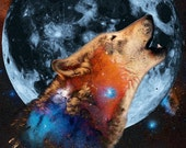 "Star Wolf - 11"" x 14"" Nature & Space Inspired Fantasy Fine Art Print by Kenneth Rougeau"