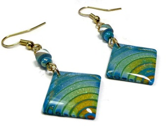 Square Turquoise Earrings- polymer clay jewelry- Ready to Ship -Statement Earrings- Boho Earrings- Polymer Clay Earrings