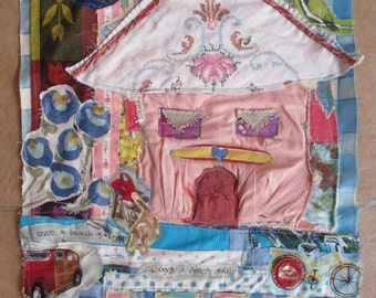 once a beach girl - Fabric Collage Folk Art - Recycled Vintage Materials - Textile Assemblage Wall Quilt- mybonny random scraps