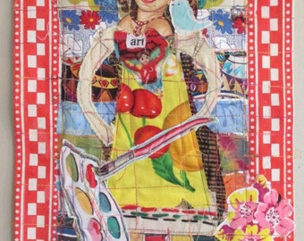 eclectic HAPPY ART HEART Folk Art Fabric Collage - Retro Kitsch Inspired Upcycled Altered Assemblage  -- mybonny random scraps of textile
