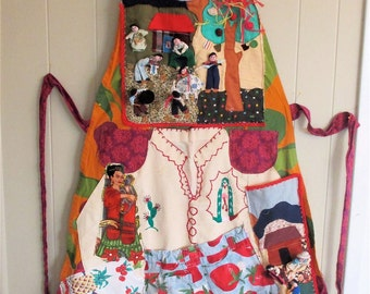 MAMA FRIDA Altered Apron - Vintage Fabric Collage Clothing Wearable Art  - Kahlo Mexican Folk Artist -- Textile Assemblage // mybonny