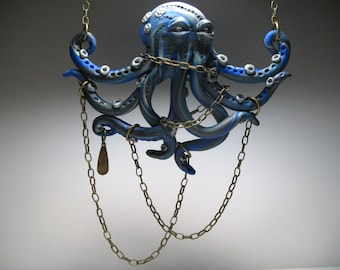 Blue Octopus Necklace - Polymer Clay Jewelry - Octopus Sculpture