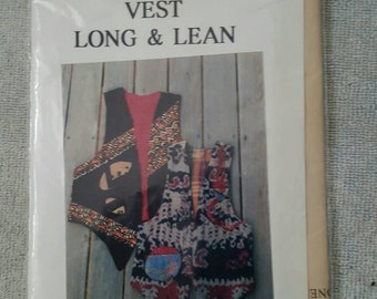 "Vest by Sally Lampi ""Long & Lean"" Small (8-10) - Medium (12-14)- Large (16-18)"